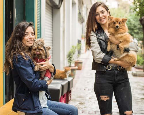 """Fulya Zenginer köpeklerini üç kelimeyle """"Venedi oyuncu, cazgır ve sadık; Tarçın ise pis, aşk dolu ve yaramaz"""" şeklinde özetliyor."""
